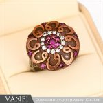 Vintage Round Green Flower Ring <b>Antique</b> Gold Color Crystals Red Acrylic Rings For Women Party Turkish Metal <b>Jewelry</b>