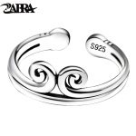 ZABRA 100% Real Pure 925 Sterling Silver Engagement Open Couple Ring For Women Men Lovers Vintage <b>Handmade</b> aneis de prata 925
