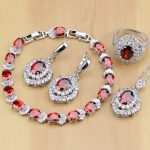 Classic Red CZ White Zircon 925 Sterling <b>Silver</b> Jewelry Sets For Women Earrings/Pendant/Necklace/Rings/<b>Bracelet</b>