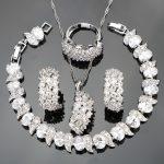 White Zircon Silver 925 Wedding Costume <b>Jewelry</b> Sets Women Bracelets Clip Earrings Pendant Necklace Rings Set Jewellery Gift Box