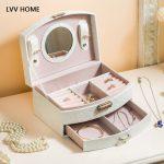 LVV HOME double drawer princess <b>jewelry</b> storage box/Lockable leaf pattern pu leather <b>jewelry</b> boxes ome storage <b>supplies</b>