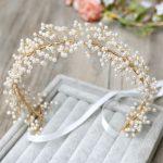 Jonnafe <b>Handmade</b> Pearl Bridal Headband Hair Vine Gold Wedding Tiara Hair Accessories Crystal Women <b>Jewelry</b> Headbands