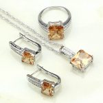 925 Sterling Silver <b>Jewelry</b> Champagne Cubic Zirconia White CZ <b>Jewelry</b> Sets For Women Wedding Earring/Pendant/Necklace/Ring