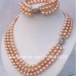 3 Rows 7-8mm Pink Akoya Pearl Necklace Bracelet Fashion <b>Jewelry</b> <b>Making</b> Design Hand Made Ornaments Gifts For Girl Women 18'txu54