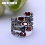 GQTORCH Natural Gemstone Wide Rings For Women Red Garnet Stone Real Pure 925 Sterling <b>Silver</b> <b>Jewelry</b> Marcasite Multi Layer Ring