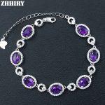 Natural Purple Amethyst Gemstone Bracelet Genuine Solid 925 <b>Sterling</b> <b>Silver</b> Real Stone Women Fine <b>Jewelry</b>