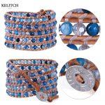 KELITCH bracelets <b>Jewelry</b> beach bracelets Brown Leather Wrap Bright Crystal Beads Bracelets <b>Handmade</b> Bracelets custom logo beads