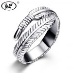 WK <b>Handmade</b> Vintage Feather Ring 925 Sterling Silver Adjustable Rings For Women S925 Thai Silver Ethnic Ring <b>Jewelry</b> W4 RB001