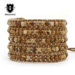 2018 Natural Stone Wrap Bracelet Boho <b>Handmade</b> Beaded 5 Layers Multilayer Weaving Bracelet Women Rope <b>Jewelry</b> WB-1