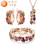 FYM <b>fashion</b> Mona Lisa Rose Gold Color <b>Jewelry</b> Sets for Women Colorful Crystal Necklace Earrings Bracelet Multicolor <b>Jewelry</b> Set
