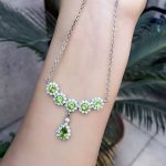 Natural peridot <b>Necklace</b> Natural tourmaline Pendant <b>Necklace</b> 925 sliver trendy round circle women Girl party gift fine Jewelry