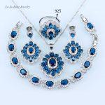 L&B Square <b>silver</b> 925 jewelry Blue crystal White zircon Jewelry Sets For Women earrings/<b>Bracelet</b>/Necklace/Ring