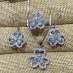 Natural multicolor opal gem <b>jewelry</b> sets natural gemstone ring Pendant Earrings S925 <b>silver</b> Elegant Lucky Clover fine <b>jewelry</b>