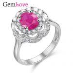 Gemlove Flower 925 Sterling <b>Silver</b> Rings for Women 0.8ct Natural Ruby Diamond <b>Jewelry</b> Gemstone <b>Silver</b> Wedding Ring 10%off CJ011