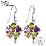 JewelryPalace Flower 6.2ct Natural Amethyst Garnet Peridot Citrine Blue Topaz 925 Sterling <b>Silver</b> Dangle <b>Earrings</b> For Women Gift