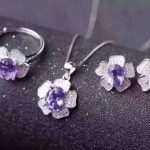 Natural amethyst jewelry sets natural gemstone ring <b>earrings</b> Pendant S925 <b>silver</b> Fashion Romantic Roses Women party Jewelry Set