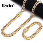 Uwin 13mm Micro Pave Cubic Zirconia Cuban Link Necklace& <b>Bracelet</b> Set Double <b>Silver</b>,Gold Color Fashion Jewelry Hiphop Men/Women