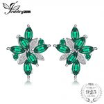 JewelryPalace Flower Shape 2.5ct Created Green Emerald Clip On <b>Earrings</b> 925 Sterling <b>Silver</b> for Women Fine Jewelry For Woman
