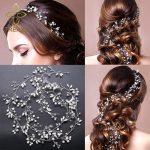 TREAZY Elegant Imitation Pearl Crystal Hair Band Wedding Hair <b>Jewelry</b> Hair Accessories Handmade 1 Meter Bridal Long Headband