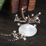 Vintage Gold Bridal Wedding Headdress Hair Accessories Crystal Stars Tiara Crown and Earring Set Princess Hair <b>Jewelry</b> For Women