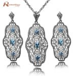 Genuine 925 Sterling <b>Silver</b> Jewelry Wholesale Handmade Blue Rhinestone Crystal Vintage Bridal Jewelry Sets Pendant&<b>Earings</b>