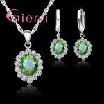 GIEMI New Retro Fashion 925 Sterling <b>Silver</b> <b>Earrings</b>+Pendant Necklace Bridal Jewelry Sets Lock Shape Gorgeous Halo Cubic Zircon
