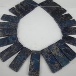 20pcs 20*50mm Natural Dark Blue Imperial Stone Slice Beads, Top Drilled Slab Shape Gems Stone Beaded Accessories <b>Jewelry</b> <b>Making</b>