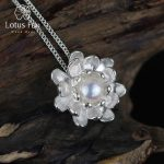 Lotus Fun Real 925 Sterling <b>Silver</b> Natural Pearl Handmade Fine Jewelry Blooming Lotus Design Pendant without <b>Necklace</b> for Women