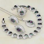 Eye Rainbow Cubic Zirconia White Rhinestone 925 Sterling <b>Silver</b> Jewelry Sets For Women Necklace/Earrings/Pendant/Ring/<b>Bracelet</b>