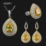 SINZRY 2018 new Luxury Cubic zirconia <b>Jewelry</b> Set for Women Golden Sparkling Water Drop CZ Crystal <b>Necklace</b> Earring ring Set