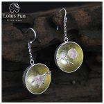 Lotus Fun Real 925 <b>Sterling</b> <b>Silver</b> Natural Shell Handmade Fine <b>Jewelry</b> The Aroma of Wintersweet Dangle Earrings for Women Brinco