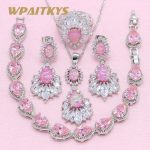 Exquisite Pink Create Opal 925 <b>Silver</b> Jewelry Sets For Women Wedding Necklace Earrings Ring <b>Bracelet</b> Free Box WPAITKYS