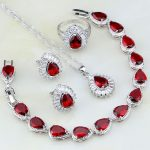 Classic Red Garnet Cubic Zirconia White Crystal 925 <b>Silver</b> Jewelry Sets For Women Wedding Earrings/Pendant/Necklace/<b>Bracelet</b>