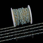 2mm Blue Glass Round Beads Rosary Chains for Necklace,Wholesale Small Glass Wire Wrapped Plated Gold Chains <b>Jewelry</b> Supplies