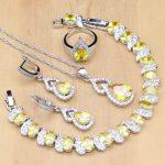 Drop <b>Silver</b> 925 Bridal Jewelry Golden Cubic Zirconia Jewelry Set For Women Wedding Open Ring/Earrings/Pendant/Necklace/<b>Bracelet</b>