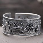 S925 Sterling <b>Silver</b> Hollow Wide <b>Bracelet</b> Retro Folk Style <b>Silver</b> Lady Opening Paragraph Animal <b>Bracelet</b>