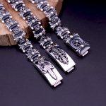Starfield S925 <b>Sterling</b> <b>Silver</b> <b>Jewelry</b> Retro Thai <b>Silver</b> Cross Flower Male Models Domineering Buckle Bracelet&Bracelet