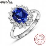 Vecalon Fine <b>Jewelry</b> 100% Real 925 Sterling Silver ring 5A Blue Zircon Cz Diana Engagement wedding Band rings for women Bridal