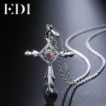 EDI Classic Trend Natural Garnet Gemstone 925 Sterling <b>Silver</b> Pendant Chain <b>Necklace</b> For Women Fine Jewelry Gifts