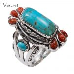 Vercret <b>Native</b> <b>American</b> Indian Natural 925 Silver Turquoise Stone Rings For Women Wedding Vintage Coral Fine <b>Jewelry</b> Rings