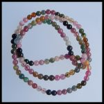 4mm Natural Colorful Pink Tourmaline Round Necklace Pendant Handmade DIY <b>Making</b> Beauty Beads Multicolor Gemstone 52cm 17.12g