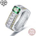 J.C Top Quality Amethyst & Emerald Green Amethyst & White Topaz 925 Sterling <b>Silver</b> Ring Size 7 8 9 10 Women/Men Fine <b>Jewelry</b>