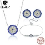 BISAER Vintage 925 Sterling <b>Silver</b> Round Circle Blue Clearly CZ Necklace Earrings <b>Bracelet</b> Jewelry Set Anniversary