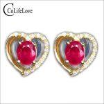 Classic heart <b>silver</b> stud <b>earrings</b> 4 mm * 5 mm natural blood red ruby sutd <b>earrings</b> solid 925 <b>silver</b> ruby gemstone <b>earrings</b>
