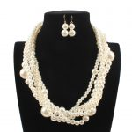 2018 New Exaggerated Bohemian Gold Pearl <b>Jewelry</b> Sets European <b>Handmade</b> Strand Beads Multi Layer Necklace and Earrings Set Women