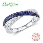 SANTUZZA <b>Silver</b> Rings For Women Pure 925 Sterling <b>Silver</b> Blue White Cubic Zirconia Promise Engagement Rings Fashion Chic <b>Jewelry</b>