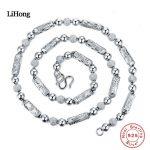 New Design 925 <b>Sterling</b> <b>Silver</b> Necklace Hexagonal Beads Men <b>Silver</b> Chain Charm <b>Jewelry</b> Basic Chain 55CM