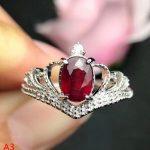 KJJEAXCMY Fine <b>jewelry</b> 925 pure <b>silver</b> inlaid with natural ruby female Ring Jewellery