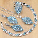 Sky Blue Zircon White CZ 925 Sterling <b>Silver</b> Jewelry Sets For Women Party Earrings/Pendant/Necklace/Rings/<b>Bracelets</b>