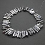 Wholsesale Titanium Silver Crystal Quartz Top Drilled Polished Point Pendants,Rock Quartz Crystal Women <b>Jewelry</b> <b>Making</b> Beads
